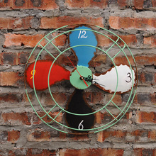 Check Discount Industrial Retro Home Furnishing Creative  Fan Wall Clock Hanging American Living Room Bedroom Wall Decor Ornament Crafts