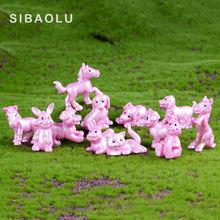 Pink animals Group Dog Horse Cat Rabbit model miniature Figu
