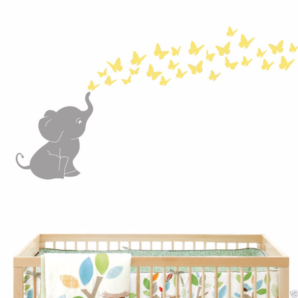 online get cheap elephants butterfly sticker decoration 2016 new elephant butterflies baby room wall decal vinyl wall nursery room decor 121cmx153cm china