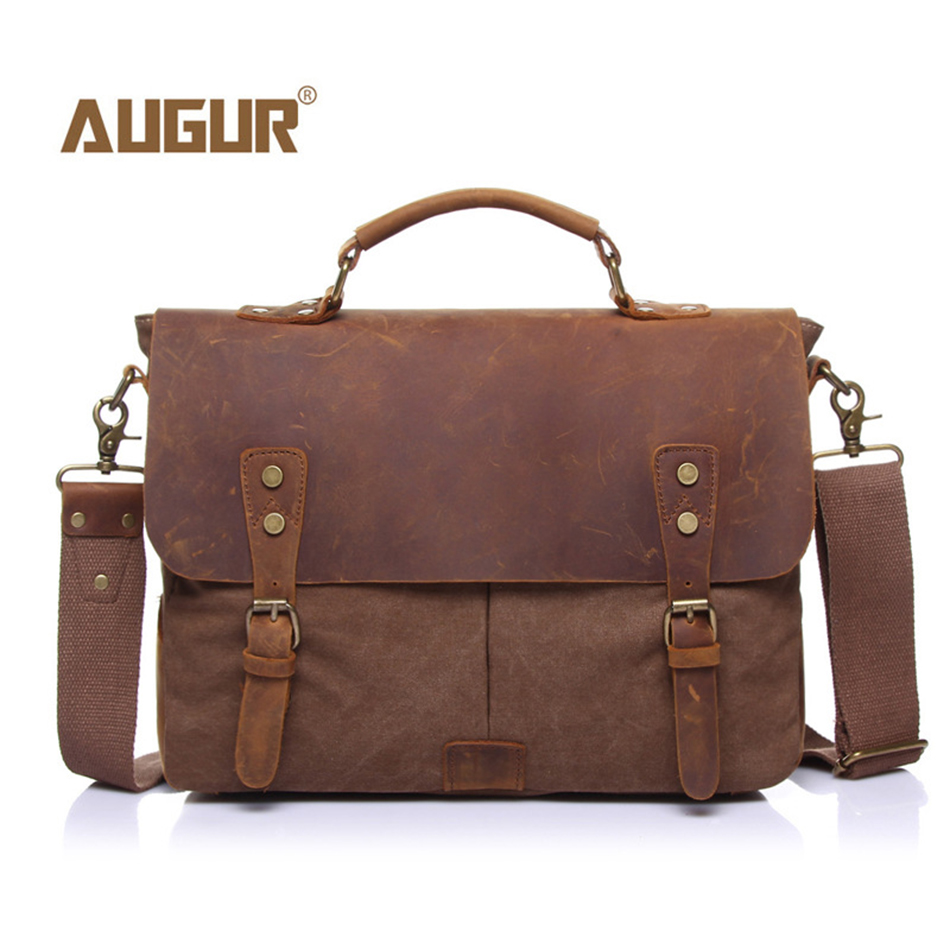 AUGUR Vintage Men Women Canvas Shoulder Bags Strap Crossbody Business Bags Laptop Tote Messenger Bag Handbag for Macbook augur 2017 canvas leather crossbody bag men military army vintage messenger bags shoulder bag casual travel school bags