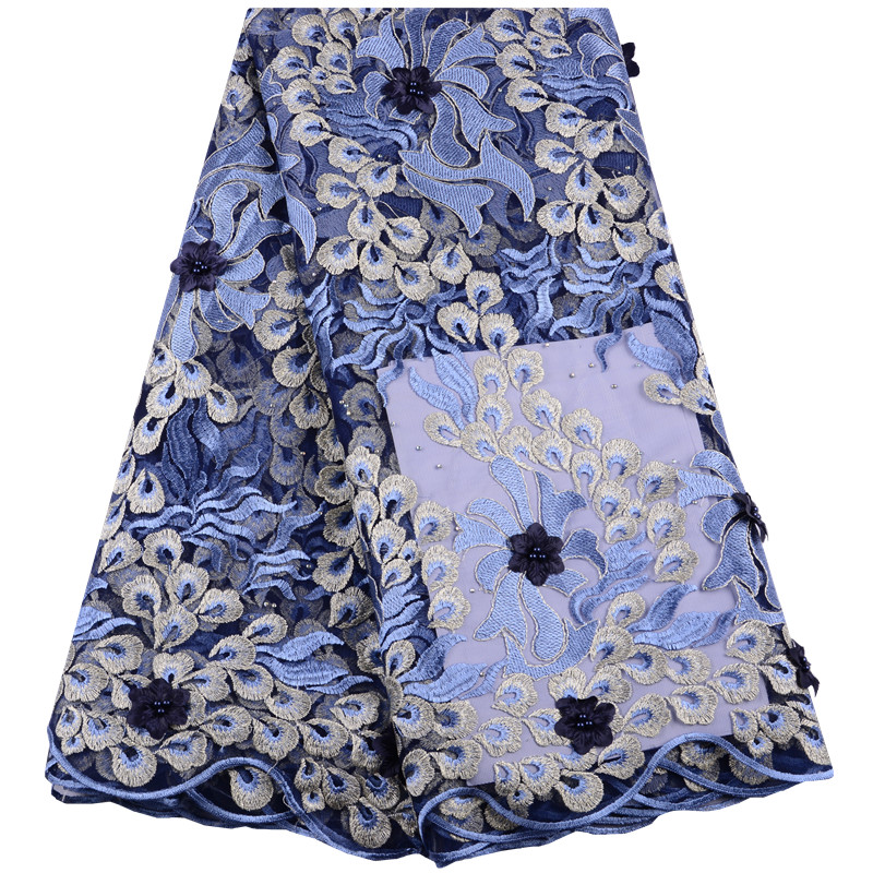 3D Flower High Quality African Lace Fabric Sky Blue French Net Embroidery French Tulle Lace Fabric