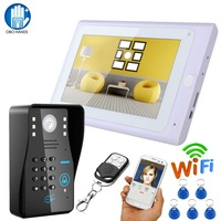 7 Wired Video Doorphone Intercom System Wifi IP Camera 64G TF Indoor Monitor Remote Control with 5pcs 125KHz RFID Keyfobs Card