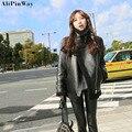 2016 estilo Coreano de La Manera del Invierno Grueso Abrigo para Mujer Caliente Casual flocado de Cuero Mujer Chaqueta de Cuero Abrigos Chaquetas de Cuero Negro