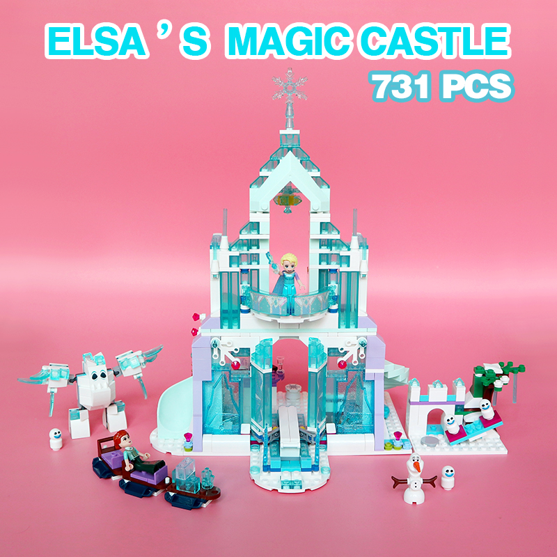Lepin 25002 Snow World Series The Elsa's Magical Ice Castle Palace Set Building Blocks Bricks legoinglys Toys Girl friend 41148 lepin 25002 731pcs the snow world series the elsa s magical ice castle set building blocks bricks toys girl with gifts 41148