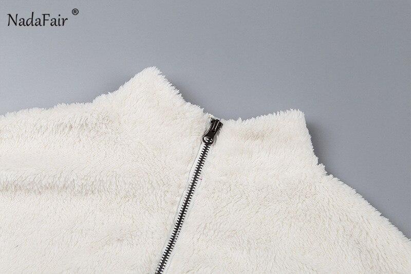 Nadafair Long Sleeve White Cropped Hoodie Women Autumn Winter Pullover Short Sweatshirt Plush Zipper Faux Fur Fluffly Sweatshirt 13
