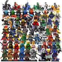 Совместимые наборы LegoINGlys NinjagoING, герои ниндзя, фигурки Kai, jay, Cole Zane Nya Lloyd с оружием, игрушки для детей