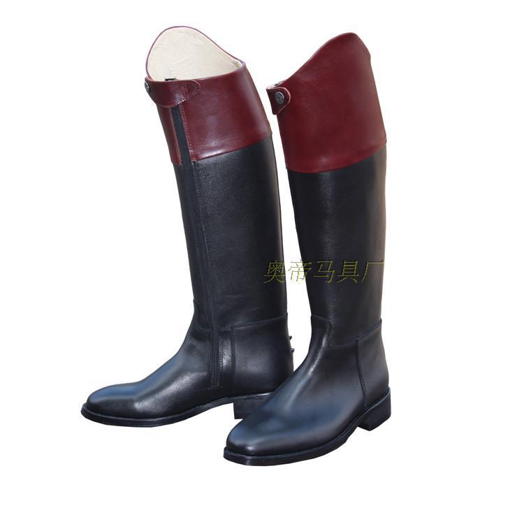 Bottes d'équitation Aoud bottes de Dressage en cuir intégral bottes équestres flanc fermeture éclair couleur contrastée unisexe équipement d'équitation