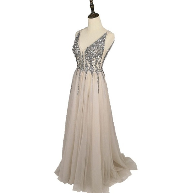 YOUXI Real Photo Spaghetti Strap Illusion Hand Work Beaded Train Long Prom Evening dress Deep V-Neck FED010