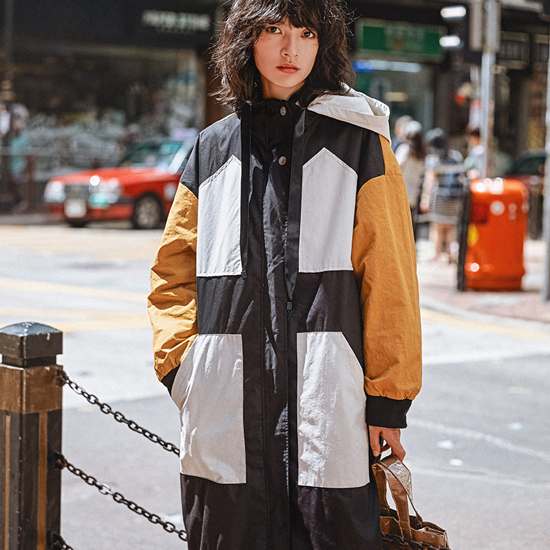 Fashion Hooded 4-pocket Plus Size Trench Coat Women 2019 New Arrival Harajuku Hit Color Design Womens Overcoat Spring Long Coat
