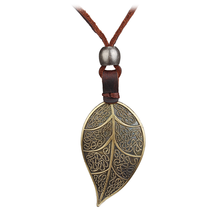 Seanuo Jewelry Co., Ltd. store Leather DIY silver  golden leaf pendant necklace punk handmade long rope choker necklace for men women sweater necklace bijoux