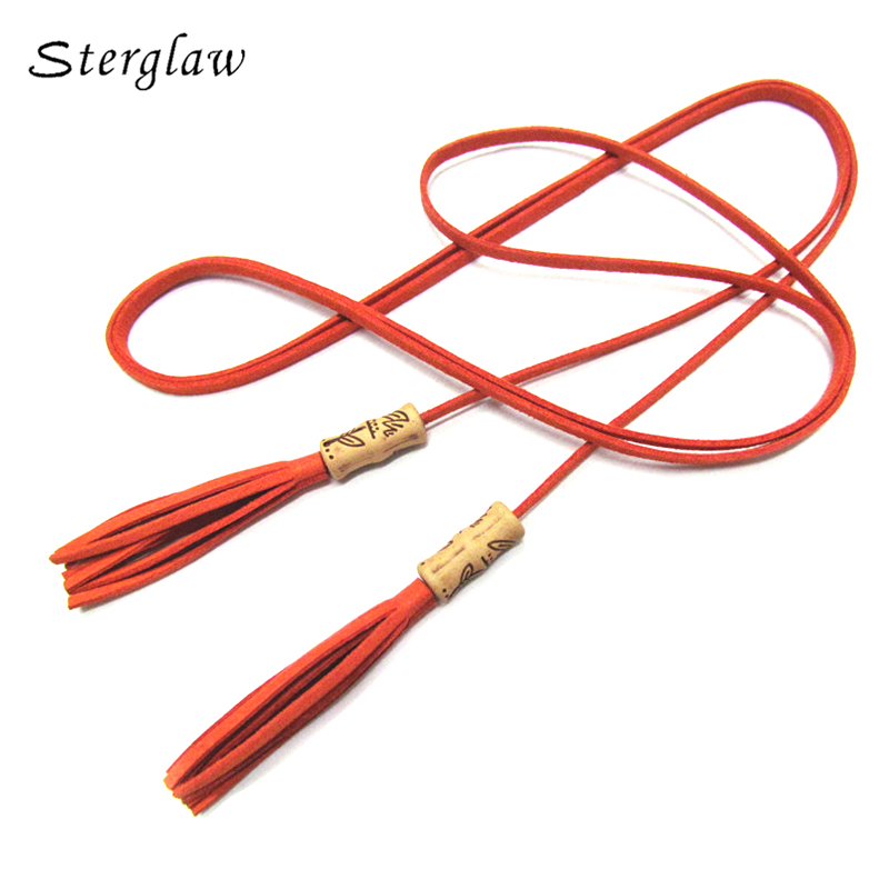 Popular Vintage PU Leather Braid Waist Belt Tassel Party Belts Cummerbunds for women Girls String Waistband Knitted Strap B214