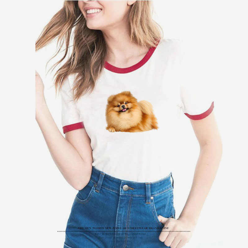 e1c73593 Lovely brown Pomeranian T Shirt Women summer o-neck tops white tshirt cute  hairy dog