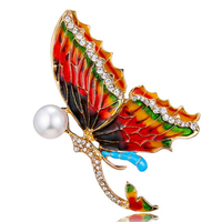 10 pcs/lot free shipping New Design Women Fashion Jewelry Crystal Rhinestone Butterfly Insect Brooch Pins
