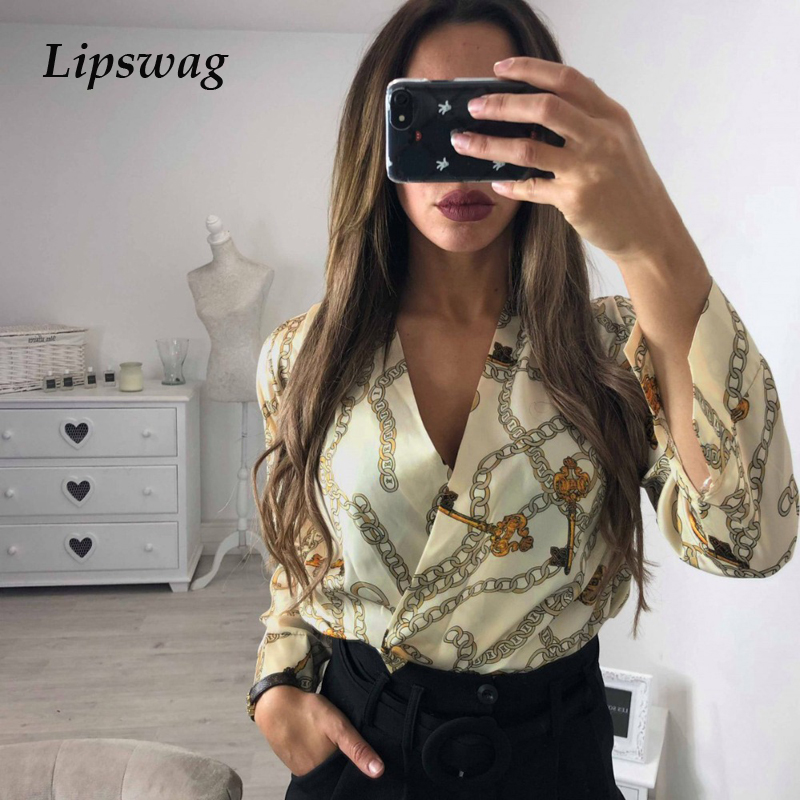 Women's Clothing Diplomatic Lipswag Sexy Deep V-neck Backless Print Rompers Summer Long Sleeve Silk Blend Bodysuit Jumpsuit Women Spring Loose Outerwear Top
