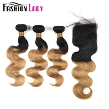 FASHION LADY Pre-Colored Brazilian Body Wave Hair Weave Ombre Human Hair T1B/27 3 Bundles With Closure 4×4 Free Part Non-Remy