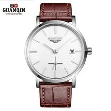 새로운 GUANQIN 남자 기계식 시계 10mm 울트라 얇은 가죽 시계 럭셔리 브랜드 남자 시계 30m 방수 캘린더 손목 시계