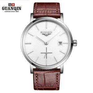 Image 1 - Часы наручные GUANQIN Мужские механические, брендовые Роскошные ультратонкие, с календарем, водонепроницаемость 30 м, 10 мм