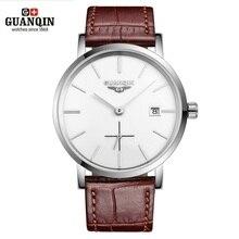 Neue GUANQIN Männer Mechanische Uhren 10mm Ultra Dünne Leder Uhren Luxus Marke Mann Uhr 30m Wasserdichte Kalender Armbanduhren