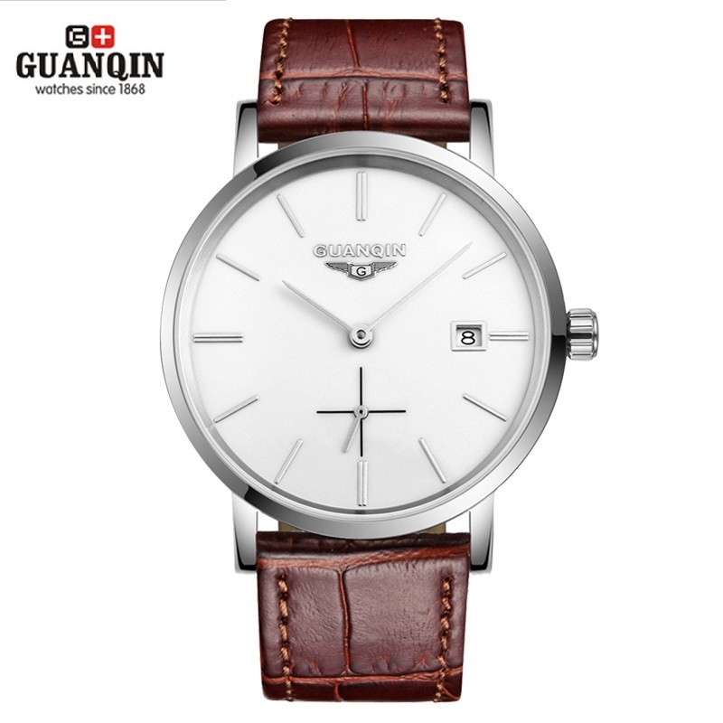 New GUANQIN Men Mechanical Watches 10mm Ultra Thin Leather Watches Luxury Brand Man Watch 30m Waterproof Calendar Wristwatches bahco profi ergo 434 25 стамеска orange black