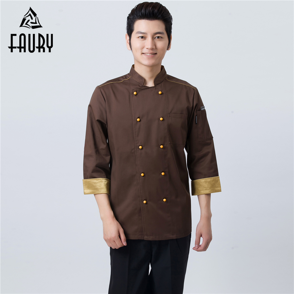 High Quality Men's Brown Double Breasted Chef Kitchen Cooking Workwear Clothing Restaurant Cuisine Waiter Coat Uniforms Overalls
