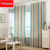 Modern Simple Colorful Striped Curtains For Living Room Custom Made Product For Children Bedroom Drapery And