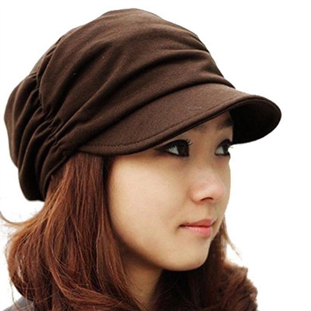 Korean Solid Casual Hat Women 2018 Autumn Winter Knited Hat Pleated Newsboy Cap Warm Outdoors Visor Skull Brown Cotton Female