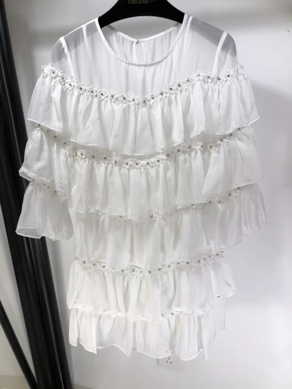 2019 New Silk Diamond Studs Long Sleeve Round Collar Super Luxury Dresses for Women Freeshipping
