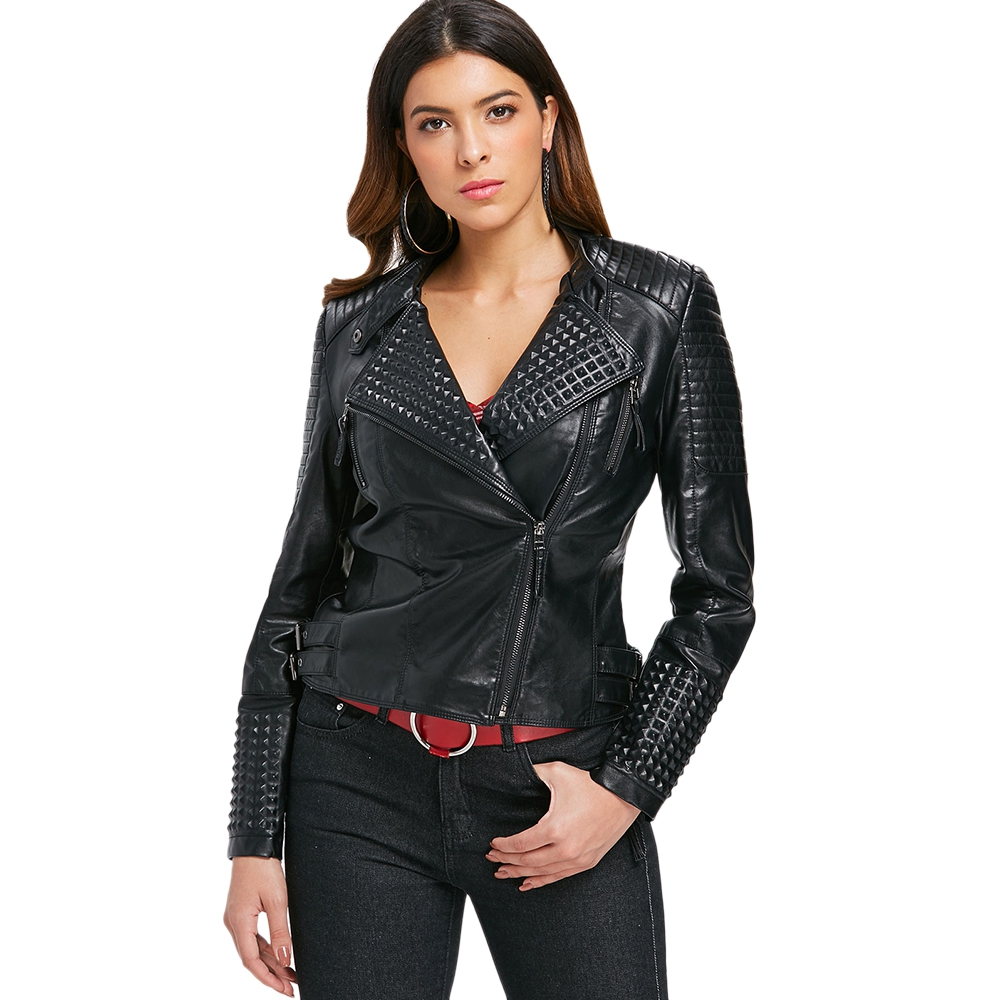 Zipper   Basic     Jackets   Embellished Faux Leather   Jacket   Women Motorcycle   Jacket   2018 Autumn Winter Outerwear Coats