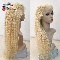 Sunnymay вьющиеся Блондинка полный кружево натуральные волосы Искусственные парики предварительно сорвал Glueless бразильский девственные волос