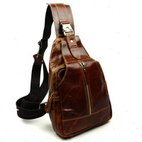 Casual Genuine Leather Chest Packs for Men Travel Chest Bags Small Crossbody Bags Shoulder Bags Man Crossbody Bag