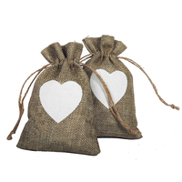 10x15cm 50pcs Vintage Natural Burlap Hessia Gift Candy Bags Wedding Party Favor Gift Box Pouch Jute Love Heart Gift Bags Wedding
