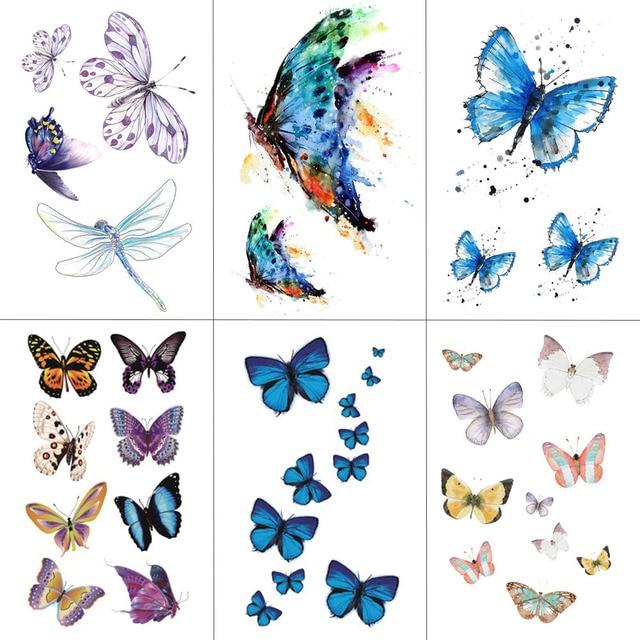 HXMAN Watercolor Butterfly Temporary Tattoo Sticker Waterproof Women Fake Tattoos Men Children Body Art Hot Design 9.8X6cm A-001