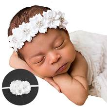 Toddler Baby Girls Faux Flower Pearl Baptism Headband Headdress Photo Props for baby dress(China)