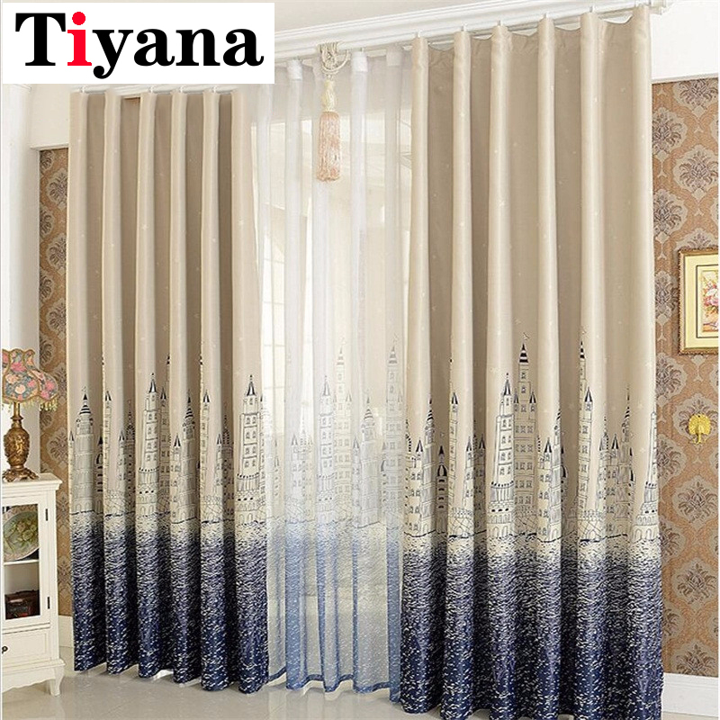 Mediterranean Curtain Finished Blind Sheer Curtain For The Living Room Kids Bedroom Kitchen Castle Design Window Cortina P230D4
