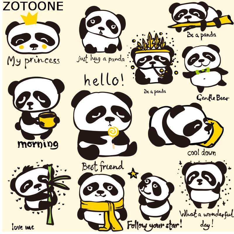 Entertainment Memorabilia Helpful 2pc Popular Cute Cartoon Panda T-shirt Dresses Heat Transfer Patch Sticker A-level Washable Iron-on Appliques Diy Printing Music Memorabilia