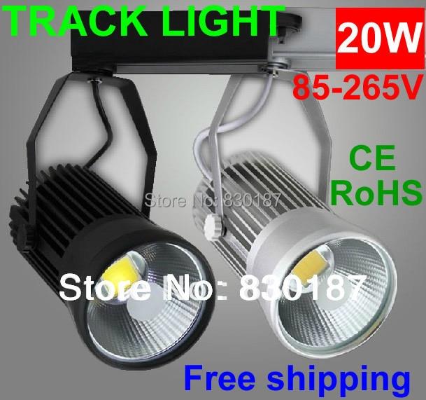 10 pcs Led Piste Lumière 20 W 30 W 110 V 220 V 4000 K Rail Spot Led Éclairage Led Lampe Lumières des Magasins de Vêtements Argent Blanc noir