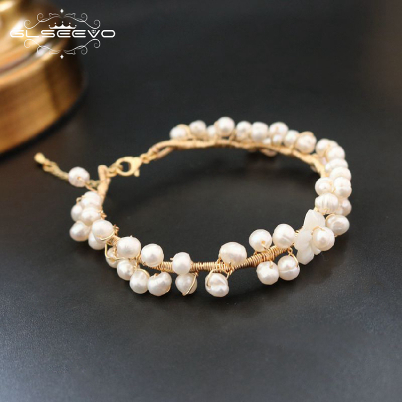 GLSEEVO Natural Stone Fresh Water Baroque Pearl Bracelets For Women Adjustable Bracelets & Bangle Jewelry Bransoletka GB0062GLSEEVO Natural Stone Fresh Water Baroque Pearl Bracelets For Women Adjustable Bracelets & Bangle Jewelry Bransoletka GB0062