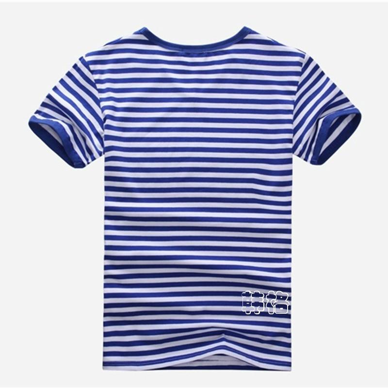 Penghantaran percuma ditambah saiz borong Fesyen jalur T-Shirt Lelaki - Pakaian lelaki - Foto 3