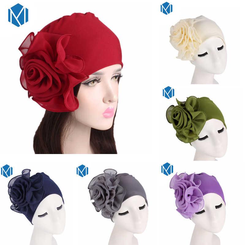 35ed65a5c6f Women Female 16 Types African Chiffon Elastic hats with big flower drop cap  Turban Girls head