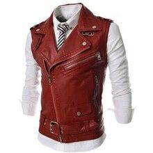 Осенний мужской тонкий короткий дизайнерский жилет из искусственной кожи на молнии, Мужская одежда, мотоциклетный жилет, пальто в стиле панк, размер XL XXL