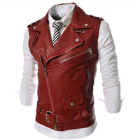 New Autumn Zipper Male Slim Lapel Short Design PU Leather Waistcoat Men Clothing Motorcycle Vest Coat Punk Style SIZE XL XXL