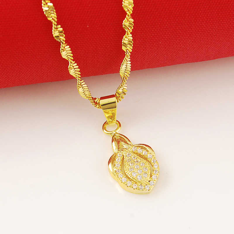 new jewelry  fashion heart charm pendant necklaces for women girls 24K yellow  necklaces wedding jewelry