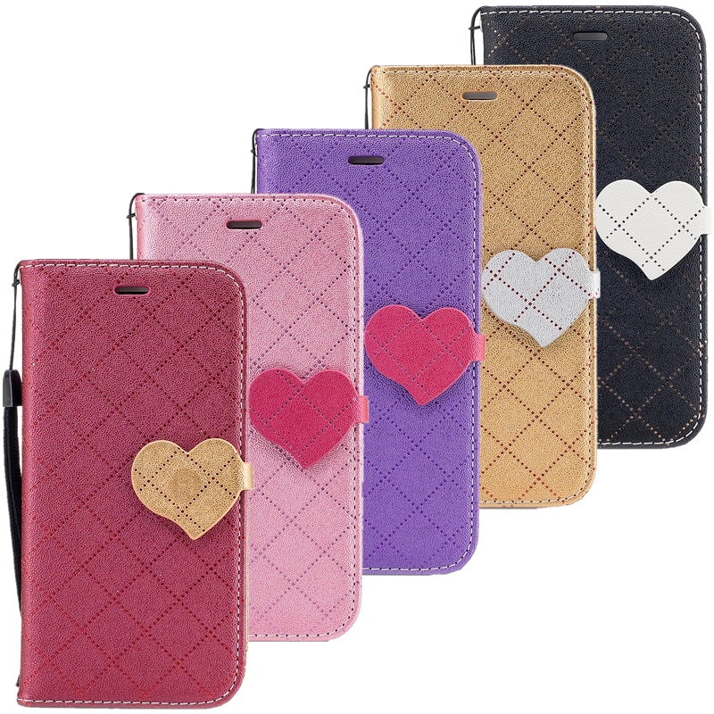 Smart phone Case For Huawei P9 Lite Hit color Lovely Heart PU Leather Silicon With Stand Wallet Cover