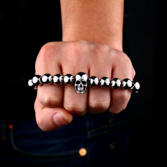 Metal beads chain skull bracelet