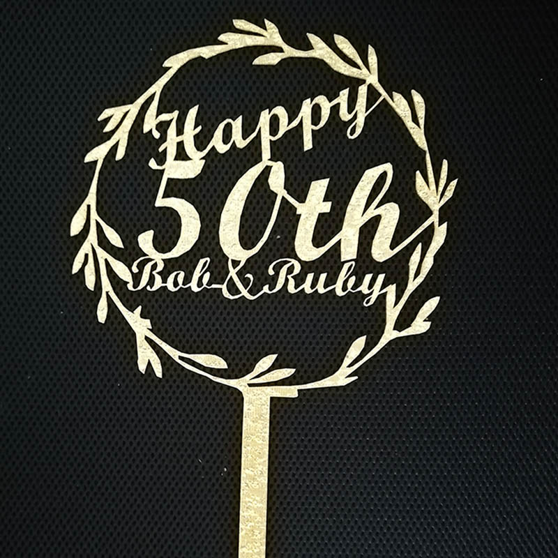 Personalized Birthday Cake Topper Custom Acrylic Wedding Cake Topper for Anniversary Party Cake Decorations Gold Silver