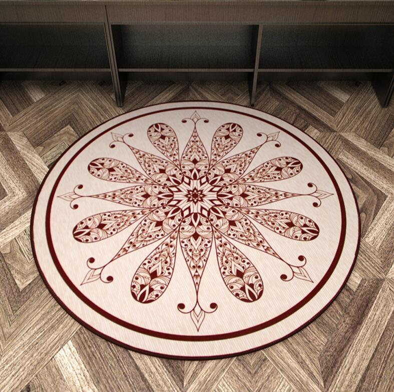 Nordic Flower Printed Round Carpet Area Rugs Living Room Mat Bathing Rug Bedroom Non-slip 60*60 80*80 100*100 CM Computer Mat