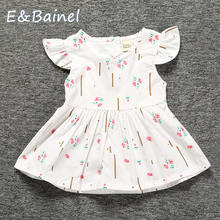E&Bainel Baby Girls Clothes Summer Toddler Baby Dress Frill Sleeve Cotton Infant Girl Dresses Princess Floral Print Sleeveless недорого