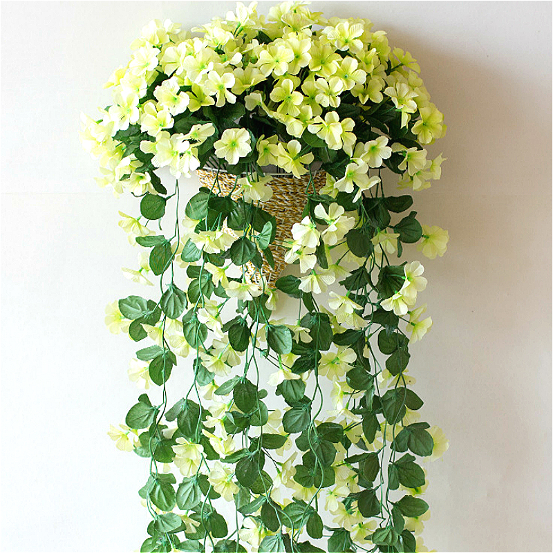 1pcs Artificial Silk Violet Flower Simulation Plant Wall Hanging Ivy Orchid Flowers Vine Home Wedding Background Decoration