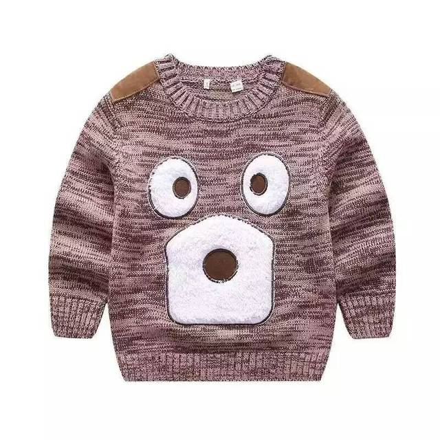 New Baby bear patch embroidered Sweater small Boys three-dimensional cartoon knitting pullover sweater wholesale