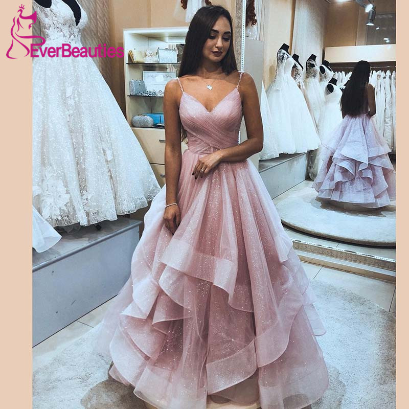 Robe De Soiree Evening Dress Long 2019 Shiny Tulle Backless Elegant Formal Dress Spaghetti Straps Vestido De Festa Abiye(China)